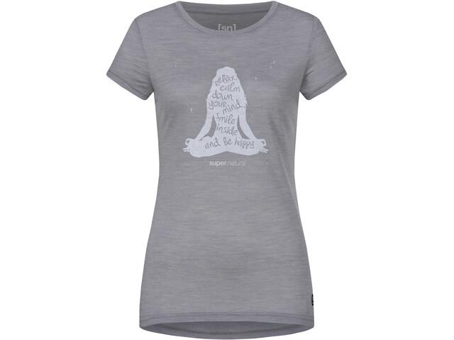 super.natural Printed Koszulka Kobiety, silver grey melange/light grey calm down